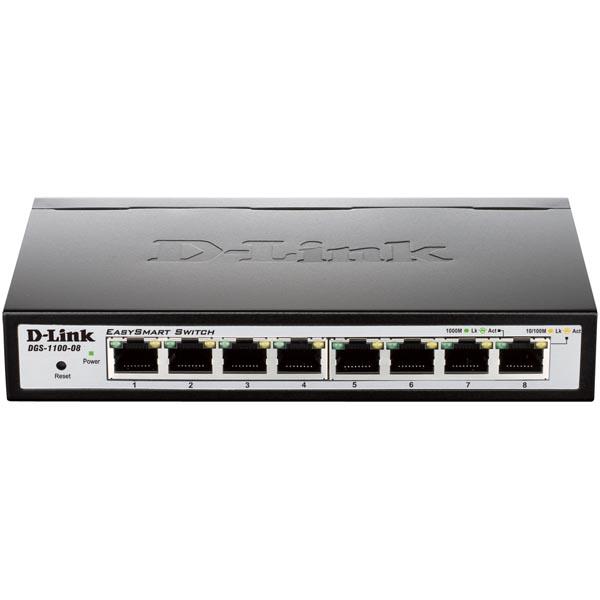 D-Link EasySmart nätverksswitch, 10/100/1000Mbps, 8xRJ45, metall, svart