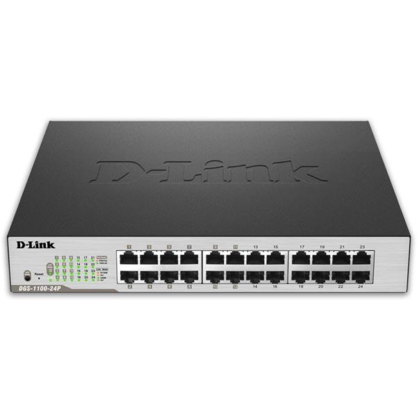 D-Link EasySmart nätverksswitch, 10/100/1000Mbps, 24xRJ45, PoE, metall, svart