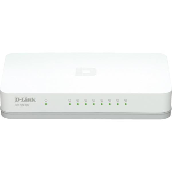 D-link 8-Port Gigabit Easy Desktop Switch, 8-port 10/100/1000Mbps, vit
