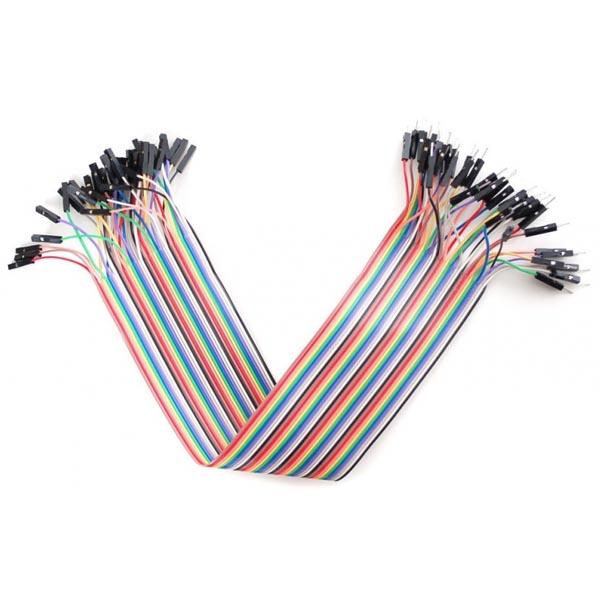 Raspberry Pi Premium Jumper Wires - 40-pinnars, 200mm, regnbågsfärgad
