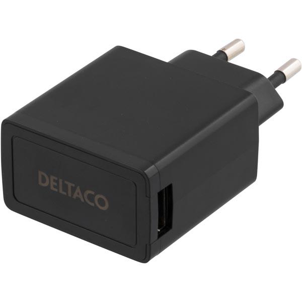 DELTACO Väggladdare 230V till 5V USB, 2,1A, 1x USB-port, svart