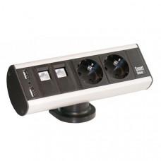 Smartline Desk, 2xCEE 7/4, 2xRJ45 ho, 2xUSB Typ A ho, Aluminium/Svart