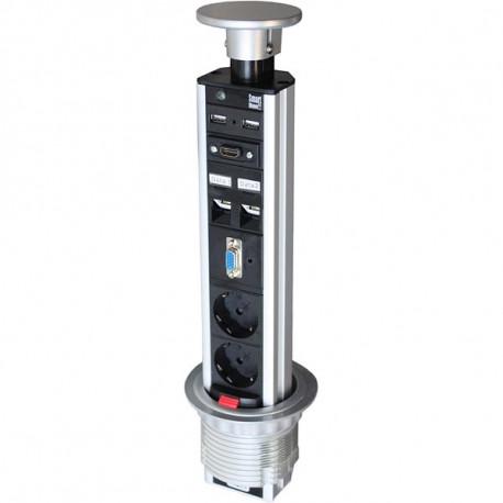 Smartline PopUp Konferens, 2x CEE 7/4 uttag, 1xHD-15 ho, 1xHDMI 19-pin ho, 2x USB Typ A ho, 2xRJ45 ho, svart/silver