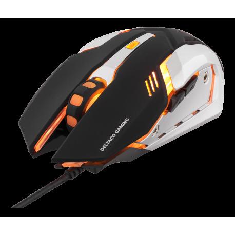 DELTACO GAMING optisk gamingmus, orange LEDs, svart/silver