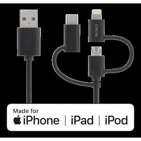 DELTACO Universell Ström- och synkkabel, 1m, Micro USB, USB-C, Lightni