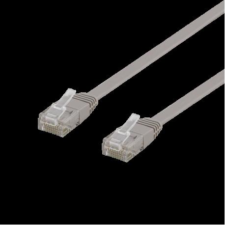 Nätverkskabel Cat6, flat, 0,3m grå