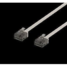 Nätverkskabel U/UTP Cat6a, flat, 1mm tjock, 0,5m, grå Nätverkskablar