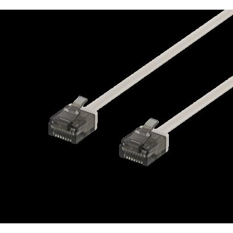 Nätverkskabel U/UTP Cat6a, flat, 1mm tjock, 0,5m, grå