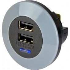 Dubbel USB, 12/24 Volt in, 5 Volt ut, 3A (1,5A per USB), frontmonterad Bilelektronik