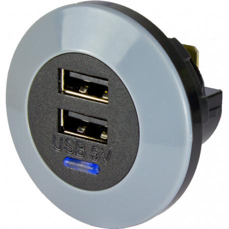 Dubbel USB, 12/24 Volt in, 5 Volt ut, 3A (1,5A per USB), frontmonterad