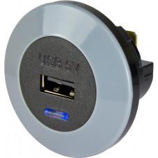 Singel USB, 12/24 Volt in, 5 Volt ut, 2,1A, frontmonterad Bilelektronik