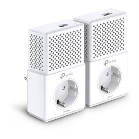 TP-LINK AV1000 Powerline startpaket, två adaptrar, passthrough, vit