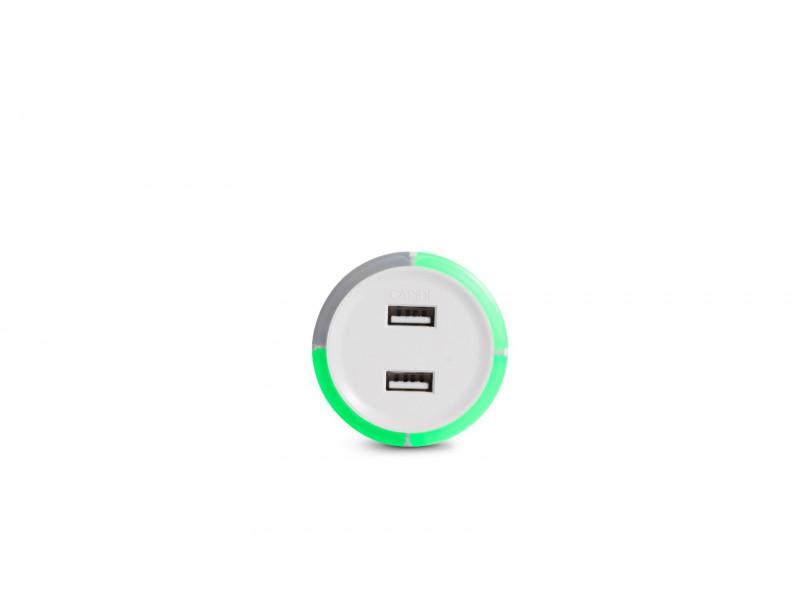 Capidi vit 2 port USB laddare med säkerhetstimer