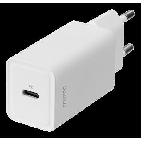 USB-C väggladdare med PD, 5 V/3 A, 18 W, vit