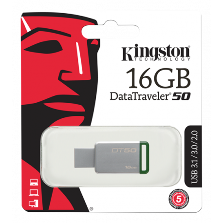 Kingston 16GB USB 3.0 DataTraveler 50, silver/grön