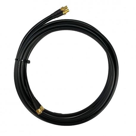 Antennkabel WiFi RP-SMA-hane till SMA-hona dubbel Low-Loss 2x5 m TWIN-kabel (LMR195)