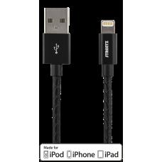 STREETZ USB-synk-/laddarkabel,iPod,iPhone,iPad,1m, svart läder Okategoriserade produkter