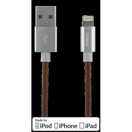 Laddningskabel till iPhone/iPad 1m brunt läder