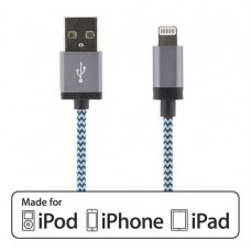 STREETZ USB - Lightning-kabel, MFi, Tygklädd, 1m, blå Okategoriserade produkter