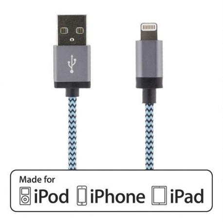 Laddningskabel till iPhone/iPad Tygklädd 1m blå