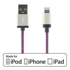 STREETZ USB - Lightning-kabel, MFi, Tygklädd, 1m, lila Okategoriserade produkter