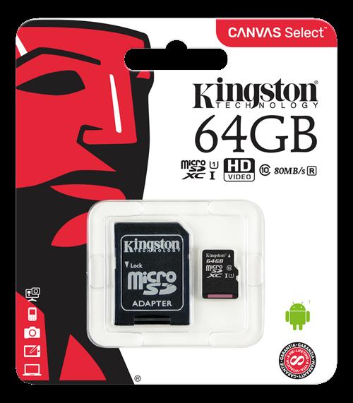 Kingston Canvas Select microSDXC-kort, 64GB, Klass 10 UHS-I, inkl. SD-korts adapter, svart