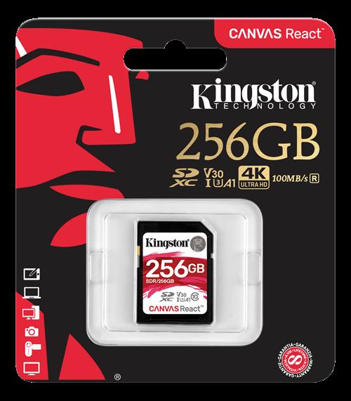 Kingston 256GB SDXC Canvas React 100R/80W CL10 UHS-I U3 V30 A1