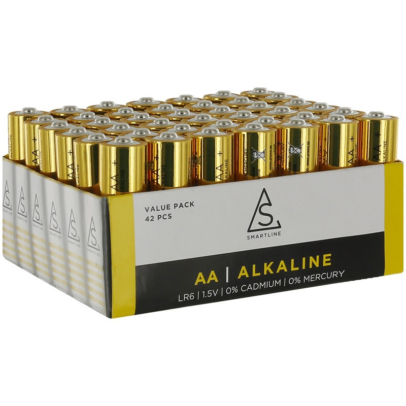 Alkaliska batterier AA LR6 1,5V 42-PACK