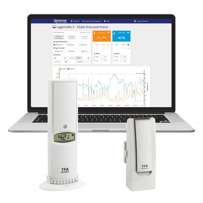 TFA Weatherhub Temperaturvakt - Starter-kit med Temperatur / luftfuktighetssensor