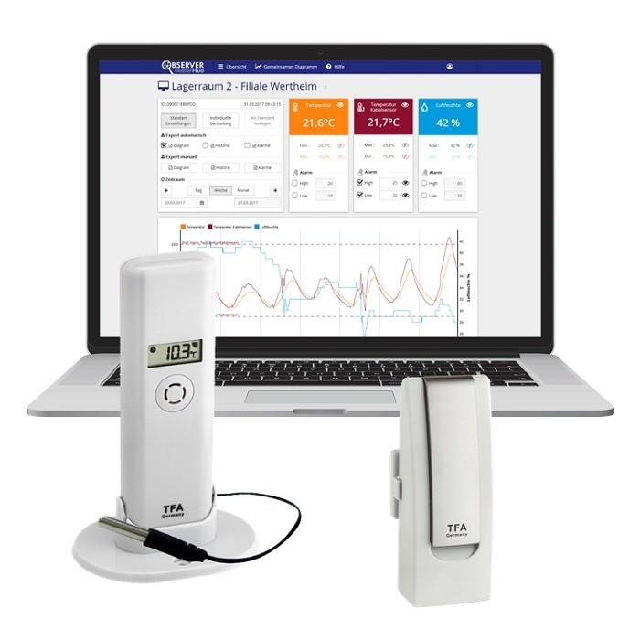 TFA Weatherhub Temperaturvakt - Starter-kit med temperatursensor med vattentät prob
