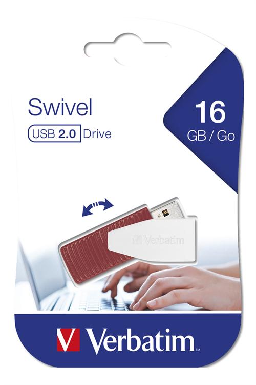USB DRIVE 2.0 STORE N GO SWIVEL 16GB RED