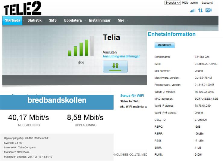 mobilt bredband utan tak