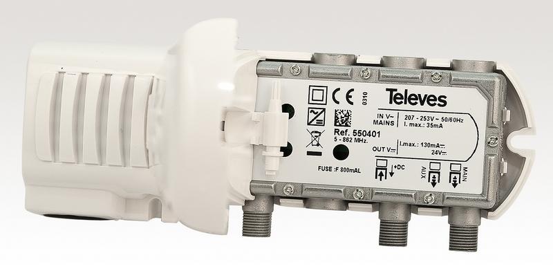 Nätdel till mastförst.2 utg, Ref: 550401, 24V/130mA, F-typ K