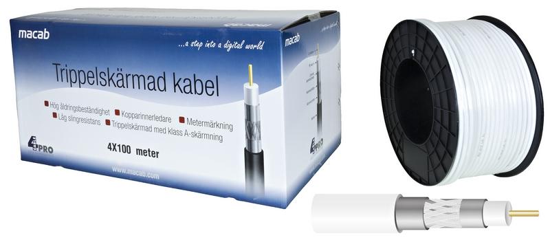 Kabel RG-6T (1,0/4,6) tr-skärmad,vit PVC lösmeter
