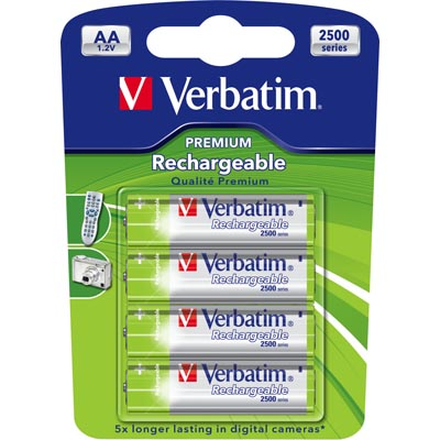Verbatim laddningsbara batterier, AA(LR06), Ni-MH, 2500mAh, 1,2V, 4-pack